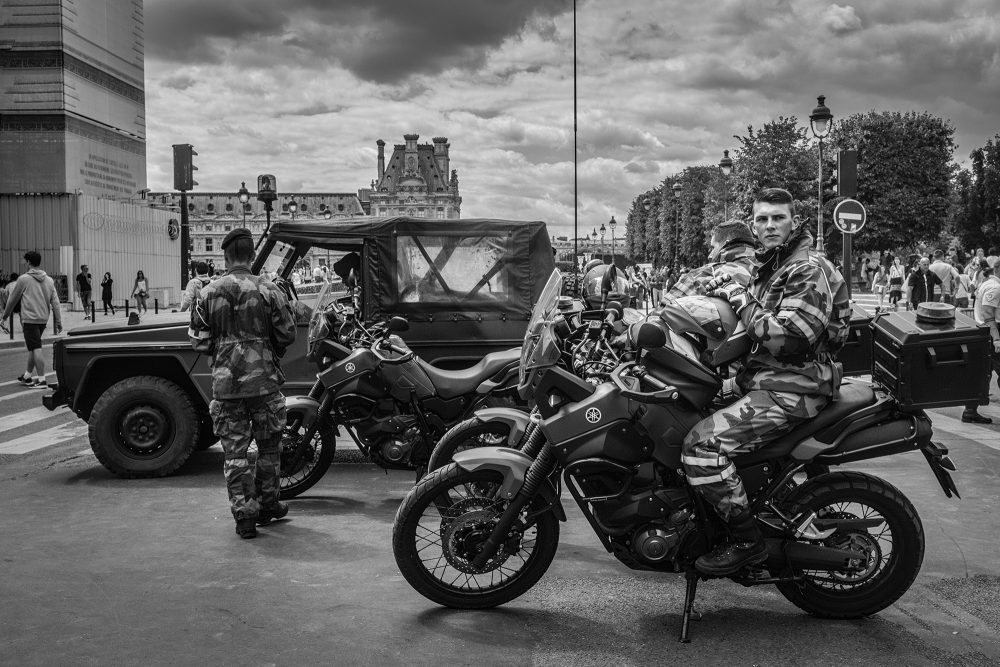 report-paris-france-14thjuly-soldieronabike